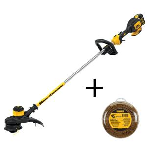 Dewalt 13 inch 20-Volt MAX Lithium-Ion Cordless Brushless String Trimmer with 5.0Ah Battery, Charger and Bonus... by DEWALT