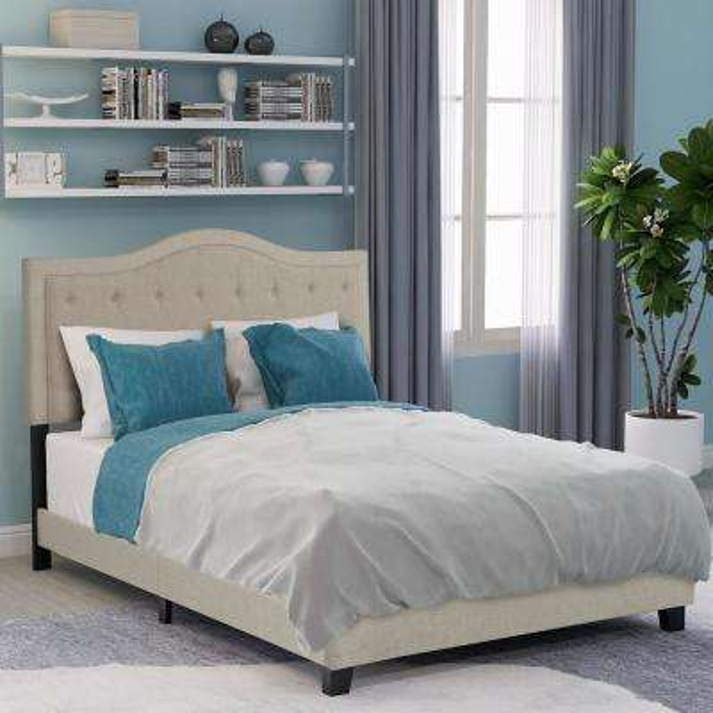Beige Queen Classic Style Upholstered Linen Bed