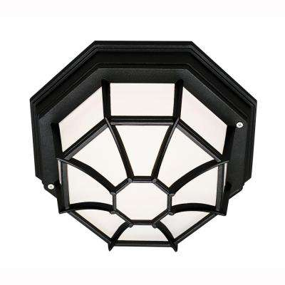 Web 1-Light Outdoor Black Ceiling Fixture with Frosted Glass