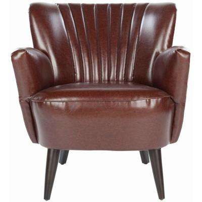 Cooper Brown/Beige/Espresso Bicast Leather Arm Chair