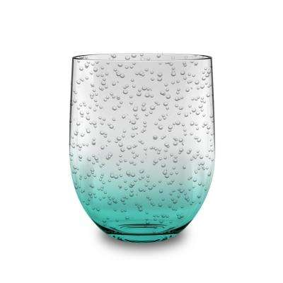 16 oz. Bubble Glass Teal Stemless (Set of 6)