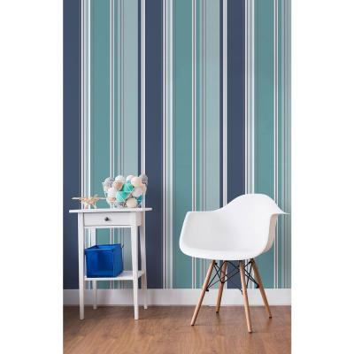 56.4 sq. ft. Energy Blue Striped Wallpaper