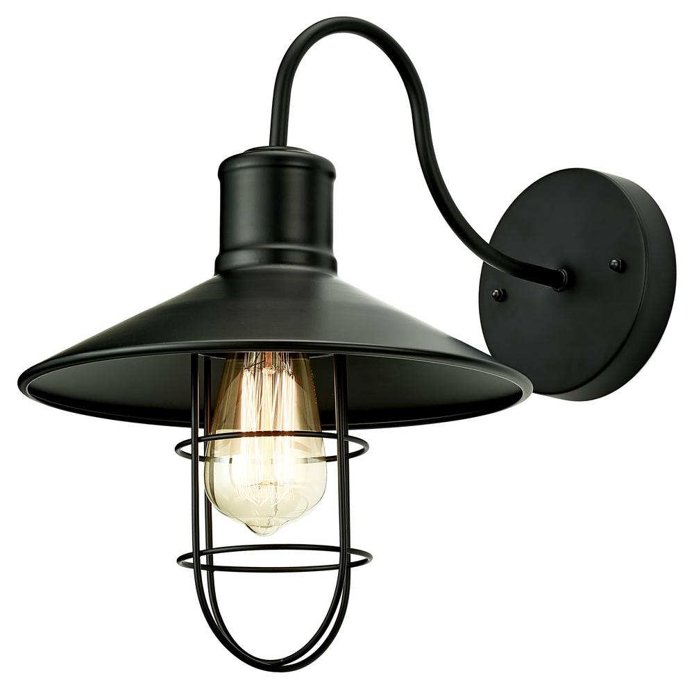 Home Luminaire 1 Light Black Nautical Sconce With Metal Shade And Cage