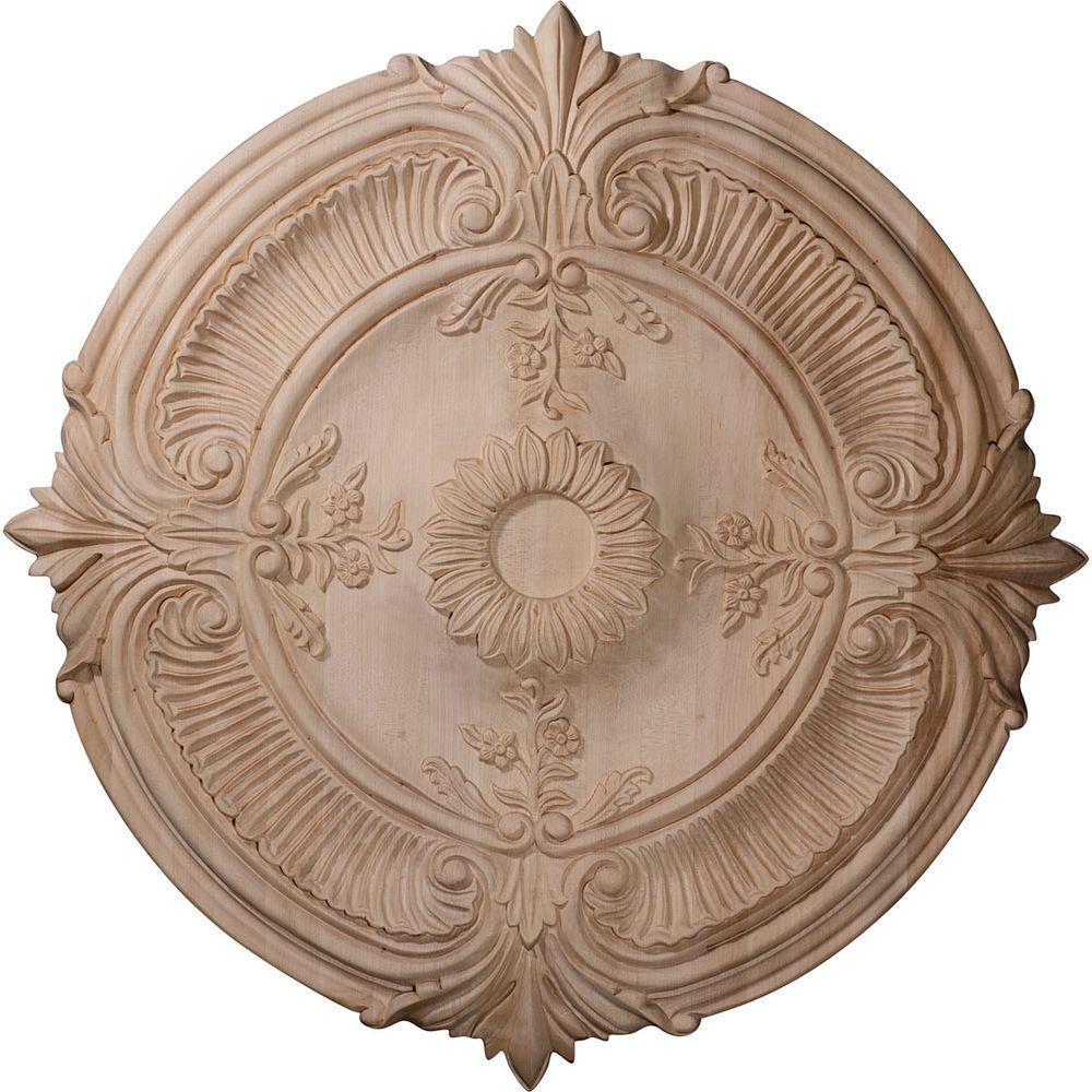 16 in. Unfinished Red Oak Carved Acanthus Leaf Wood Ceiling Medallion