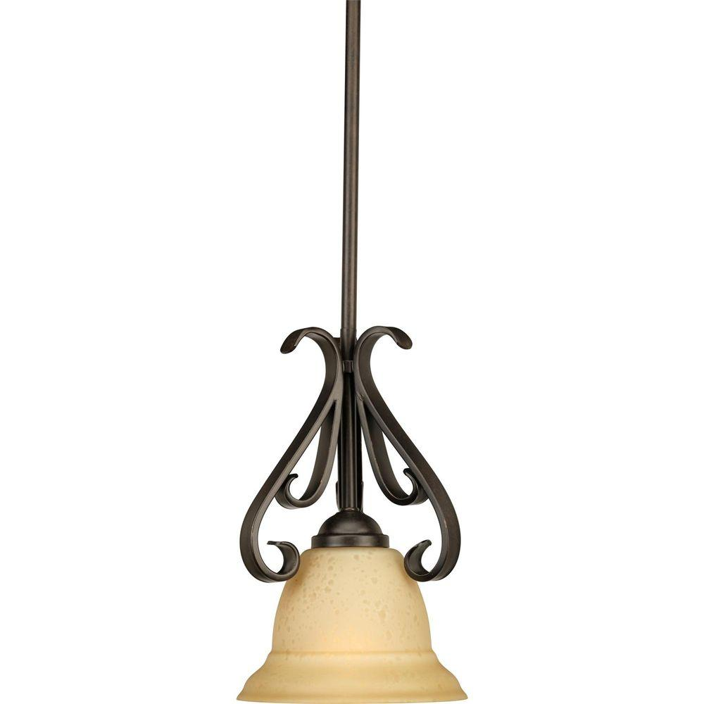 Progress Lighting Torino 1 Light Forged Bronze Mini Pendant With Tea Stained Gl