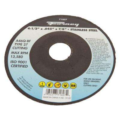 4-1/2 in. x 0.045 in. x 7/8 in. Stainless-Steel Type 27 Cut-Off Wheel