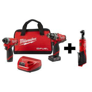 Milwaukee M12 FUEL 12-Volt Li-Ion Brushless Cordless Hammer Drill and Impact Driver Combo Kit + M12 3/8