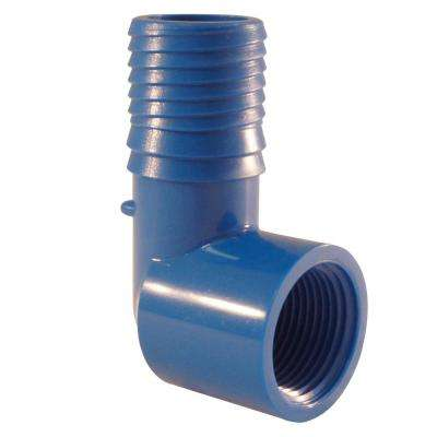 1 in. x 3/4 in. Blue Twister Polypropylene Insert 90-Degree x FPT Elbow