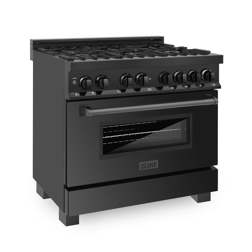 ZLINE 36'' Black Stainless 4.6 cu.ft. 6 Gas Burner/Electric Oven Range (RAB-36)