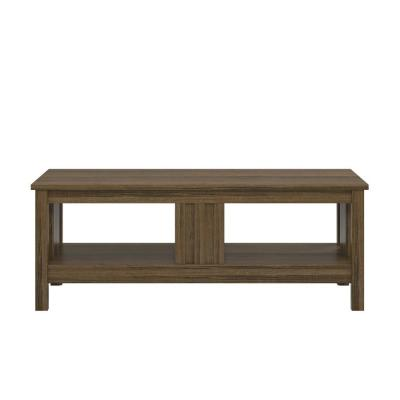 Wellshire 48 in. Brown Large Rectangle MDF Coffee Table with Shelf