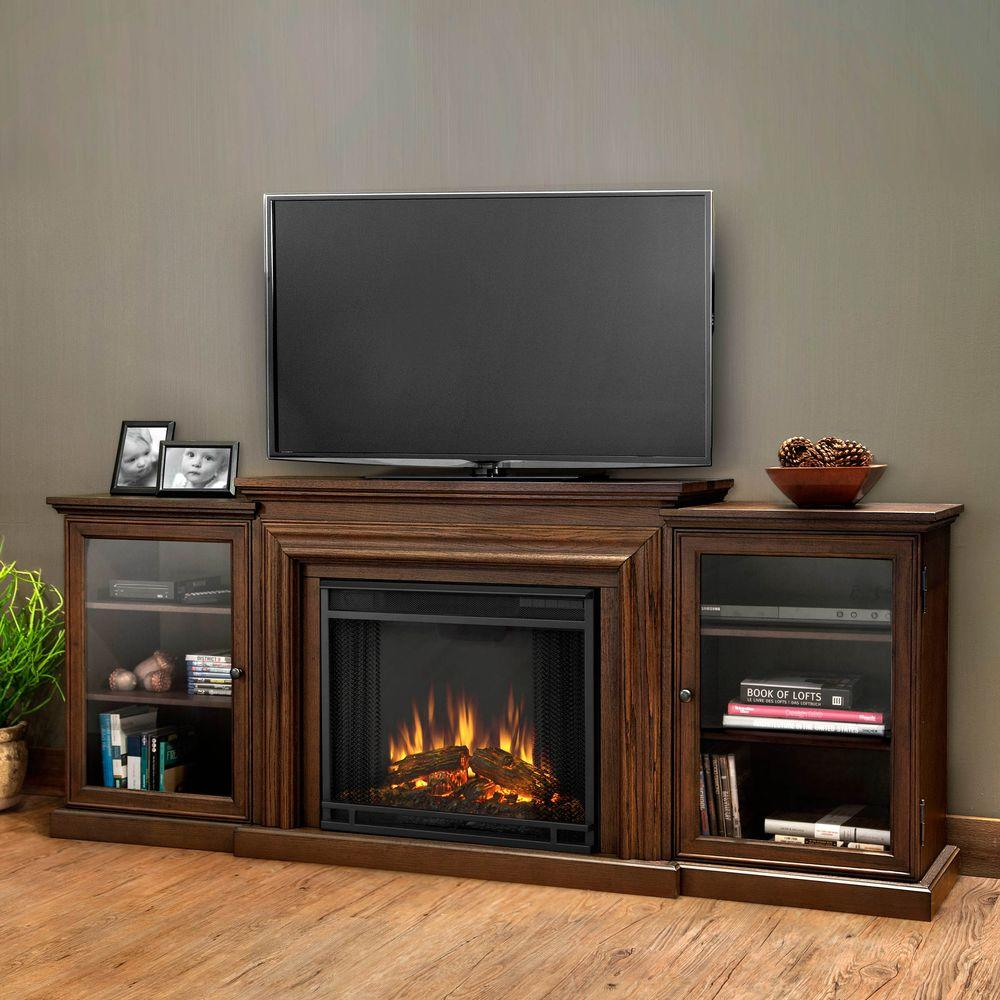 Bon Real Flame Frederick Entertainment 72 In. Media Console Electric Fireplace  In Blackwash 7740E BW   The Home Depot