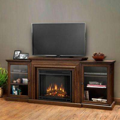 Frederick Entertainment 72 in. Media Console Electric Fireplace TV Stand in Chestnut Oak