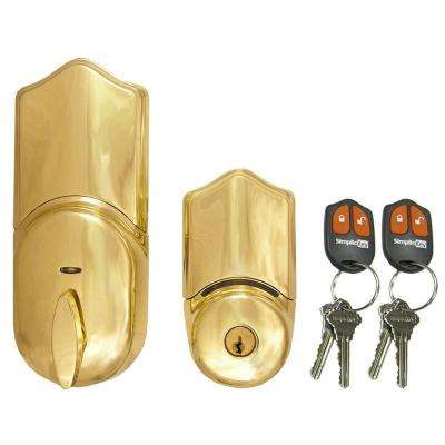 Single Cylinder Polished Brass Remote Control Electronic Deadbolt