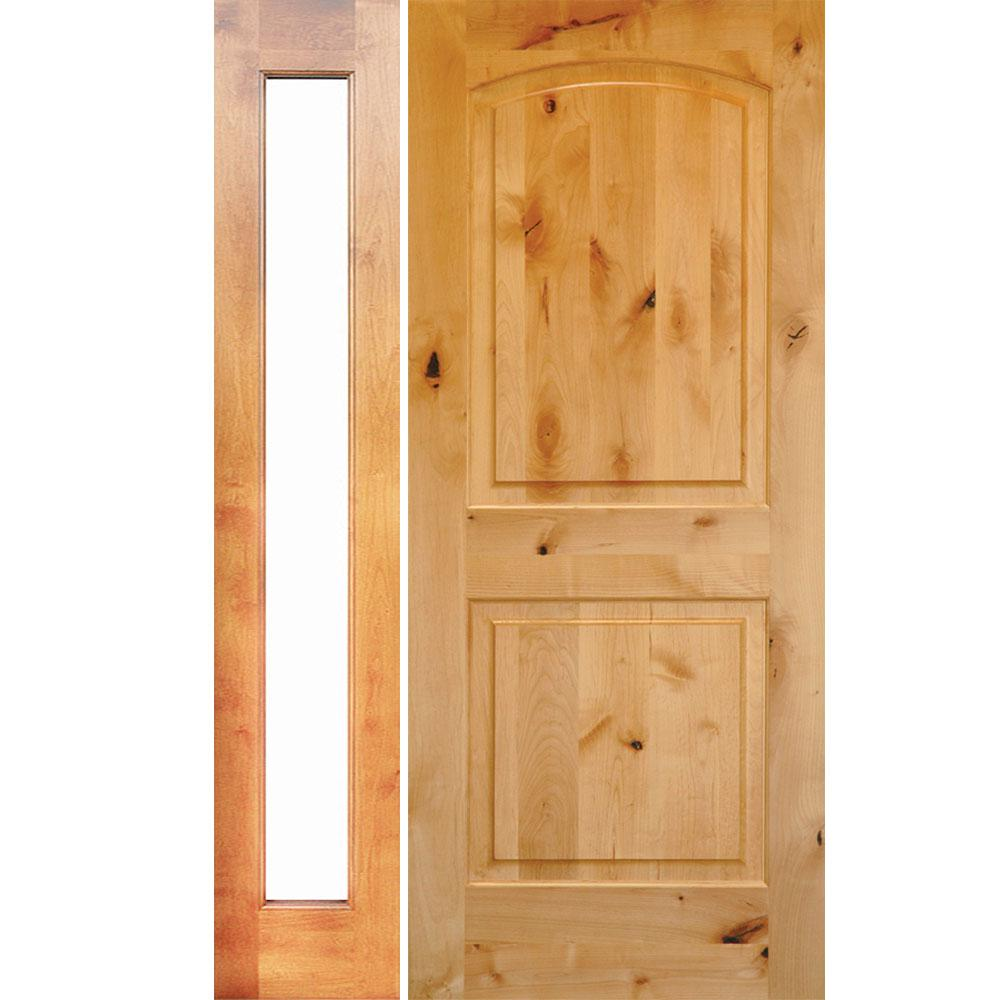 Krosswood Doors 56 in. x 80 in. Rustic Unfinished Knotty Alder Arch-Top Right-Hand Left Full Sidelite Clear Glass Prehung Front Door