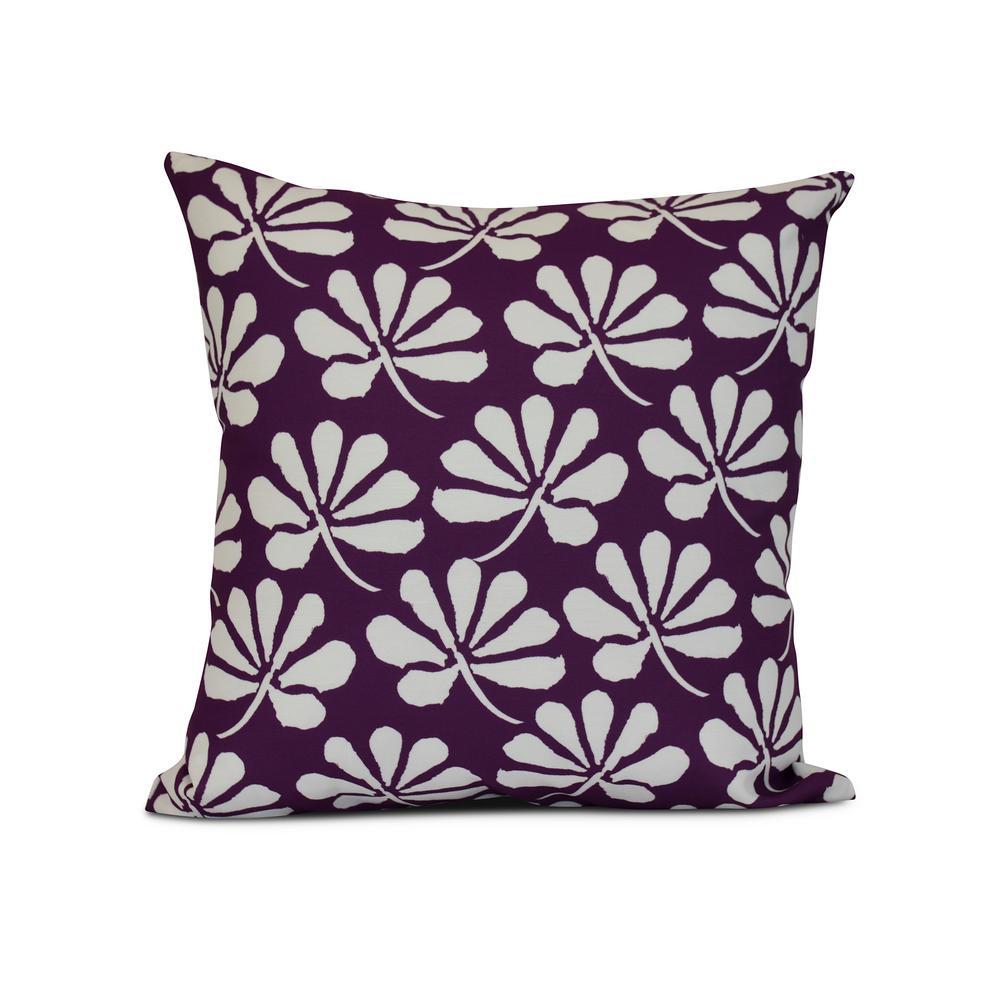 16 in. Ingrid Floral Print Pillow in Purple
