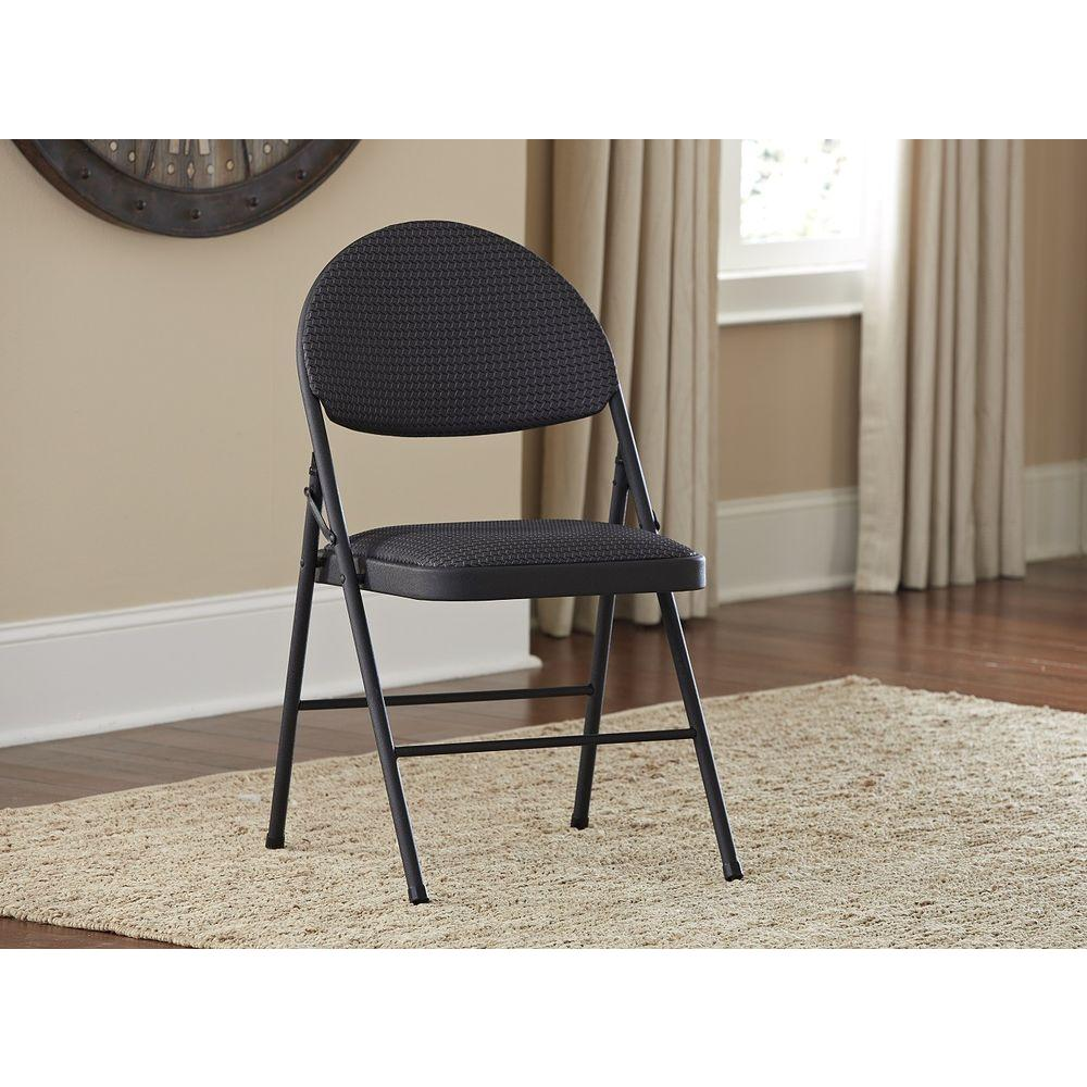 Magnificent Cosco Oversized Black Metal Frame Padded Seat Folding Chair Set Of 4 Pdpeps Interior Chair Design Pdpepsorg