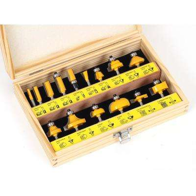 Multi Profile 1/4 in. Shank Carbide Tipped Router Bit Set (15-Piece)