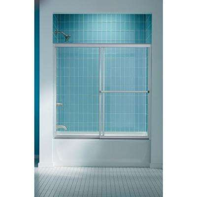 Prevail 59-3/8 in. x 56-3/8 in. Framed Sliding Bathtub Door in Nickel with Handle