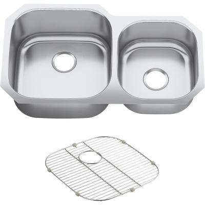 Undertone Preserve Undermount Scratch-Resistant Stainless Steel 35 in. Offset Double Bowl Kitchen Sink with Basin Rack