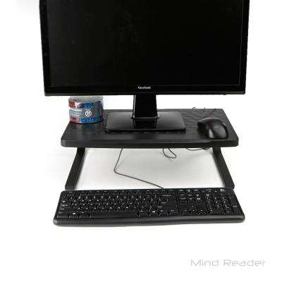 Extra Wide Metal Monitor Stand Computer Riser in Black