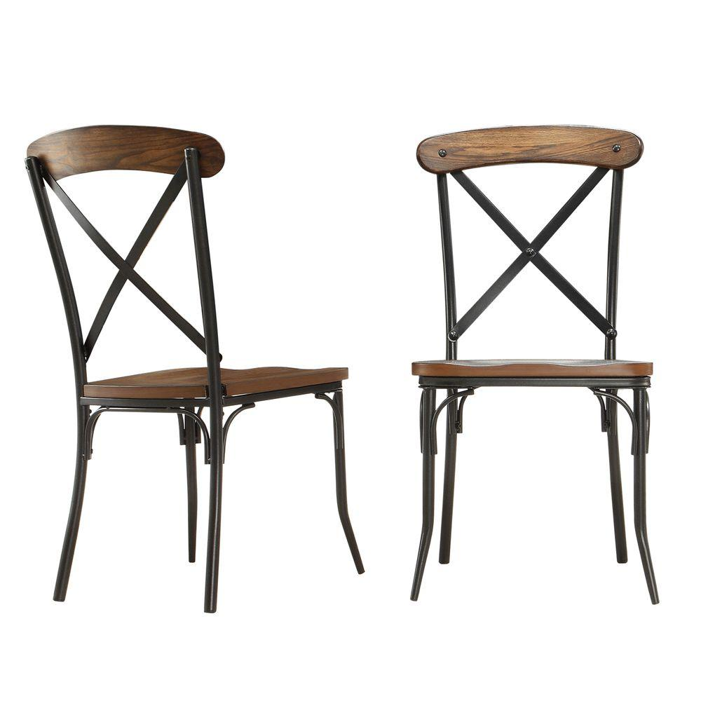 Homesullivan cabela distressed ash wood and metal dining for Wooden dining room chairs