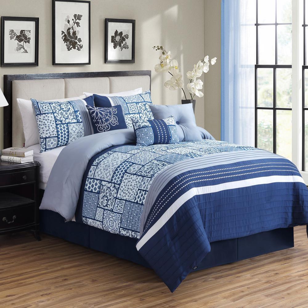 MHF Home Savannah 7-Piece Blue Patchwork Queen Comforter Set