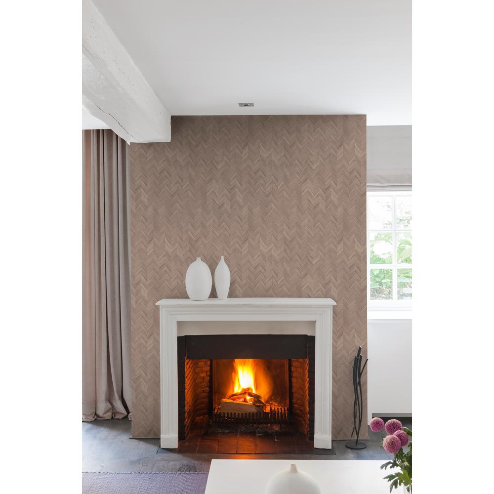 Brown Herringbone Wallpaper