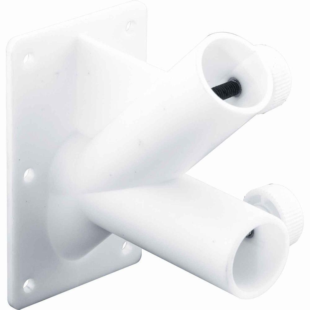 2-Position White Plastic Flagpole Bracket