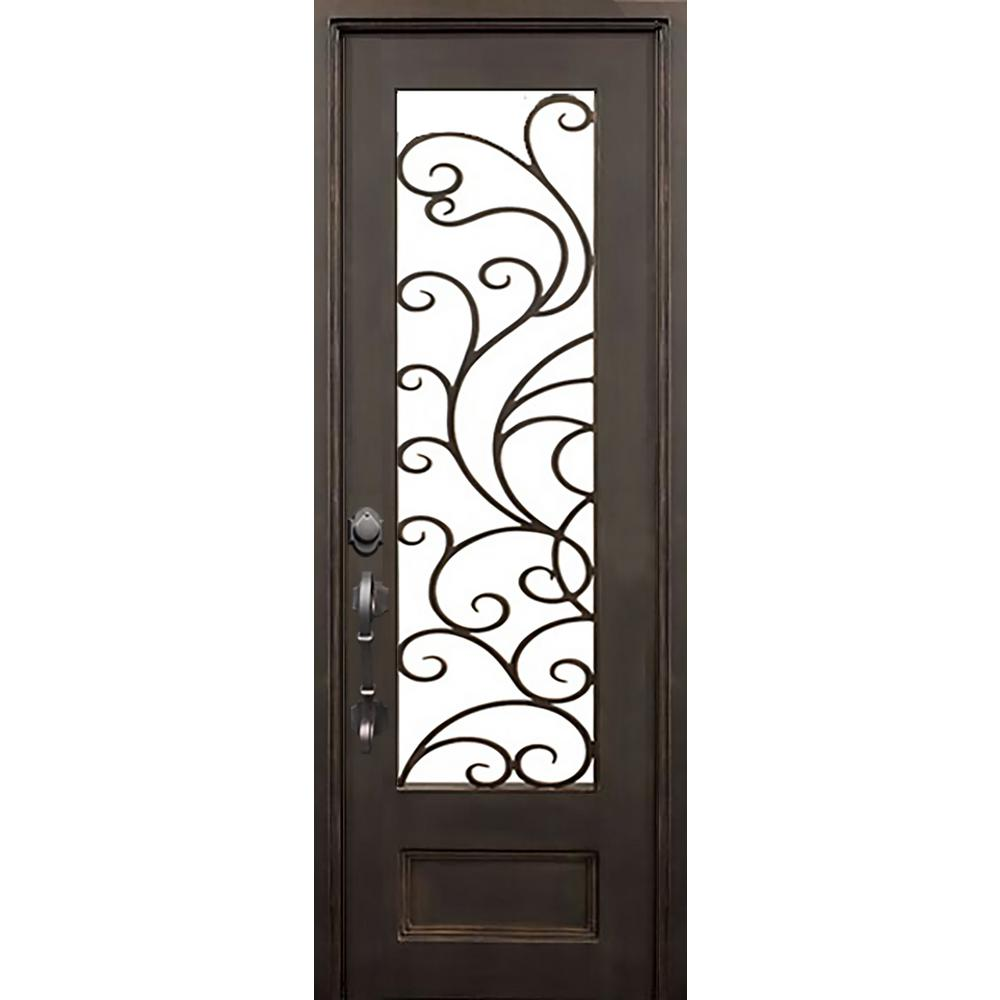 Home Depot Front Door Hardware Part - 18: Islamorada Flat Top Left-Hand Classic Painted Wrought Iron Single Prehung Front  Door (Hardware Included)-IS4097FLI4ADB - The Home Depot