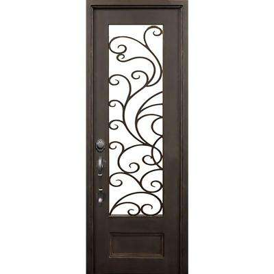40 in.x97.5 in. Islamorada Flat Top Left-Hand Classic Painted Wrought Iron Single Prehung Front Door (Hardware Included)