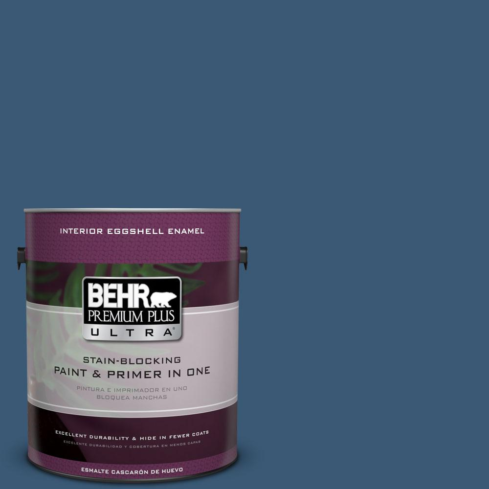 1 gal. #M500-6 Express Blue Eggshell Enamel Interior Paint and Primer