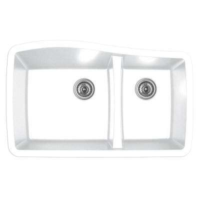 Undermount Quartz Composite 33 in. 60/40 Double Bowl Kitchen Sink in White
