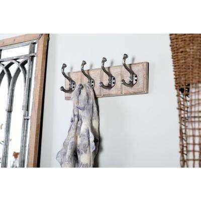 Gray Wood and Iron Rectangular Wall Hook Rack with 4 Hooks