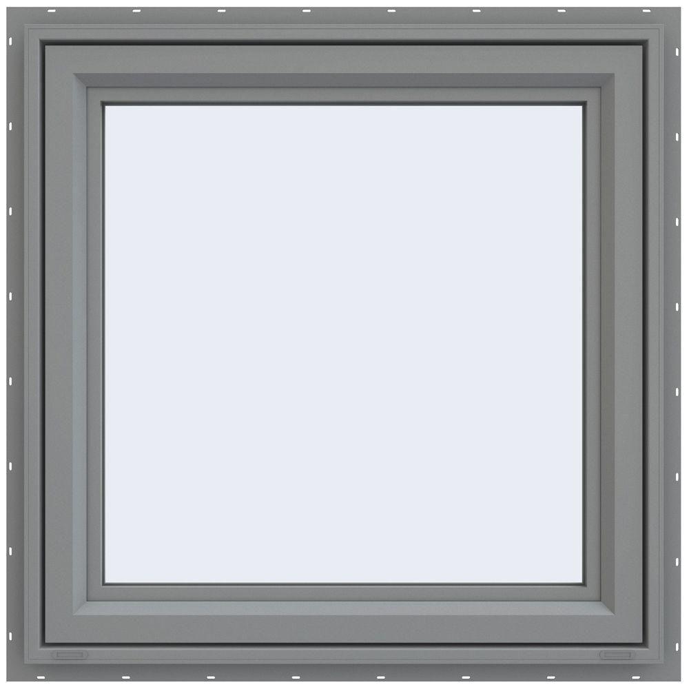 35.5 in. x 35.5 in. V-4500 Series Right-Hand Casement Vinyl Window - Gray