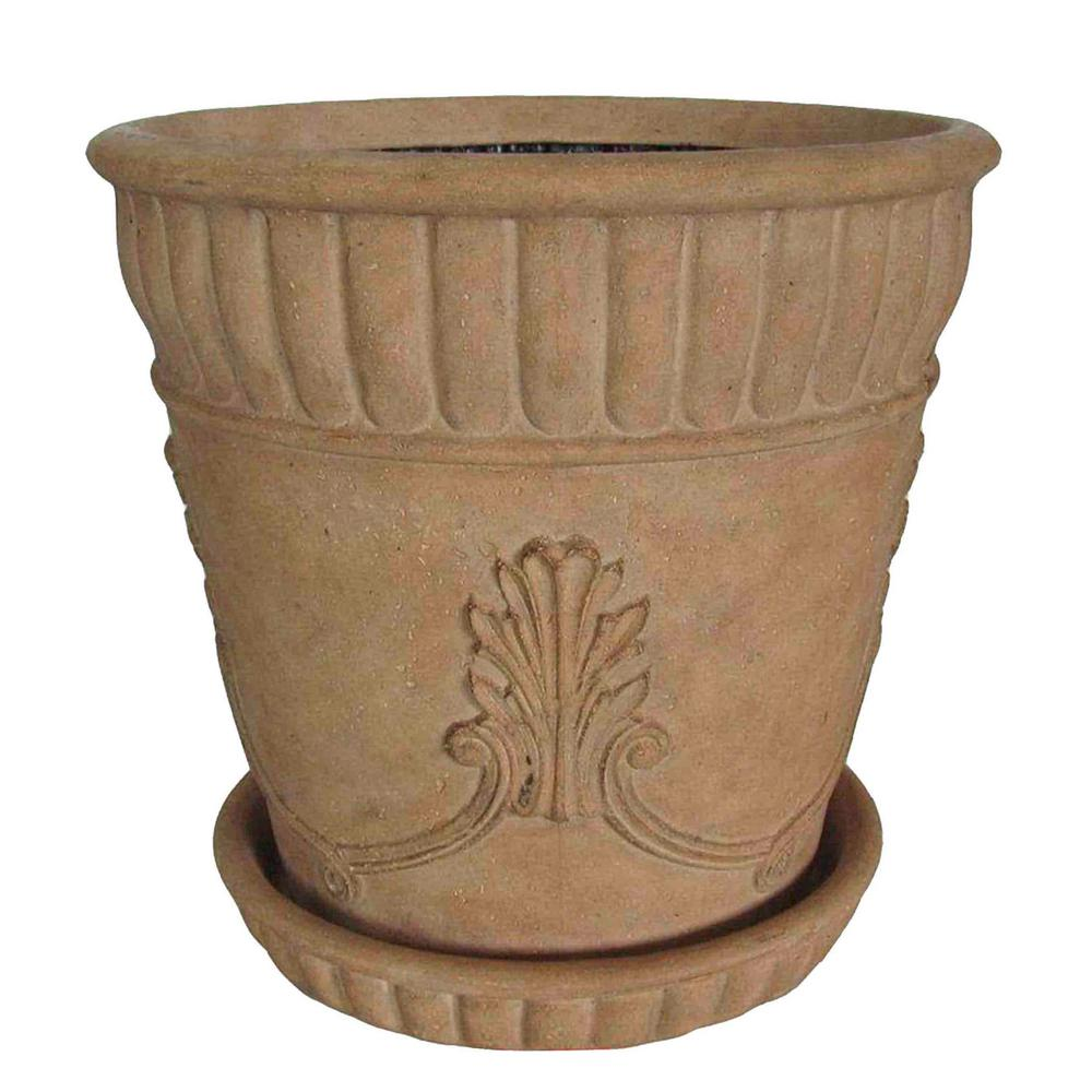 23 in. Dia Ivory Acanthus Cast Stone Pot with Saucer