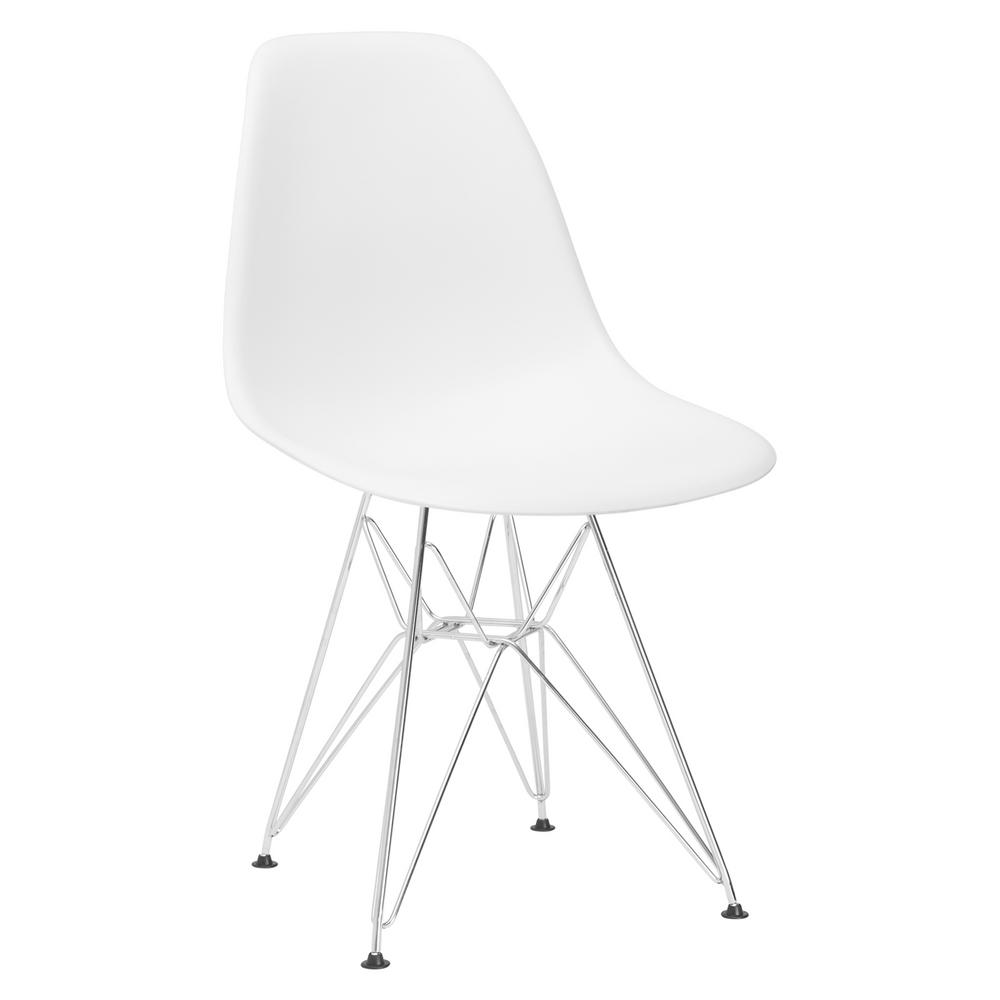 Poly And Bark Padget Chrome White Side Chair