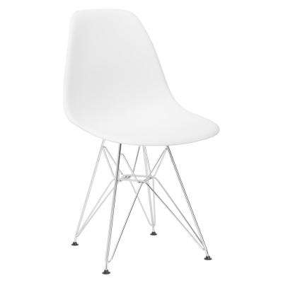 Padget Chrome and White Side Chair
