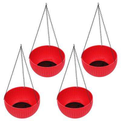 10.5 in. Dia. Red  Poly-Resin Rattan Hanging Planter Baskets (4-Piece)
