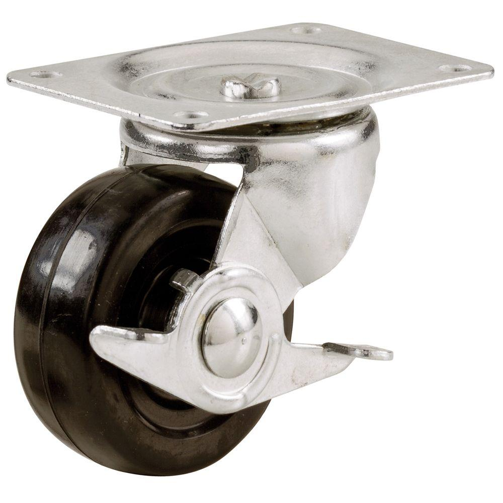 Everbilt 2 in. Soft Rubber Swivel Plate Caster with 90 lb. Load Rating and Side Brake