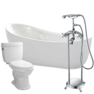 Talyah 71 in. Acrylic Flatbottom Non-Whirlpool Bathtub in White with Tugela Faucet and Talos 1.6 GPF Toilet