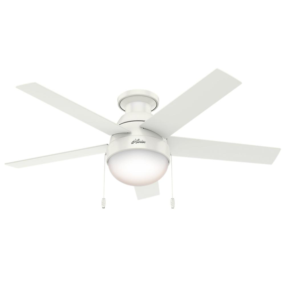 Hunter anslee 46 in indoor low profile fresh white ceiling fan indoor low profile fresh white ceiling fan aloadofball
