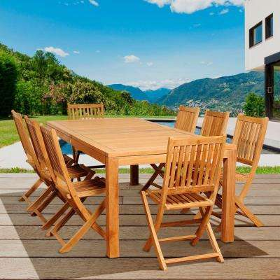 Hawkins 9-Piece Teak Rectangular Patio Dining Set