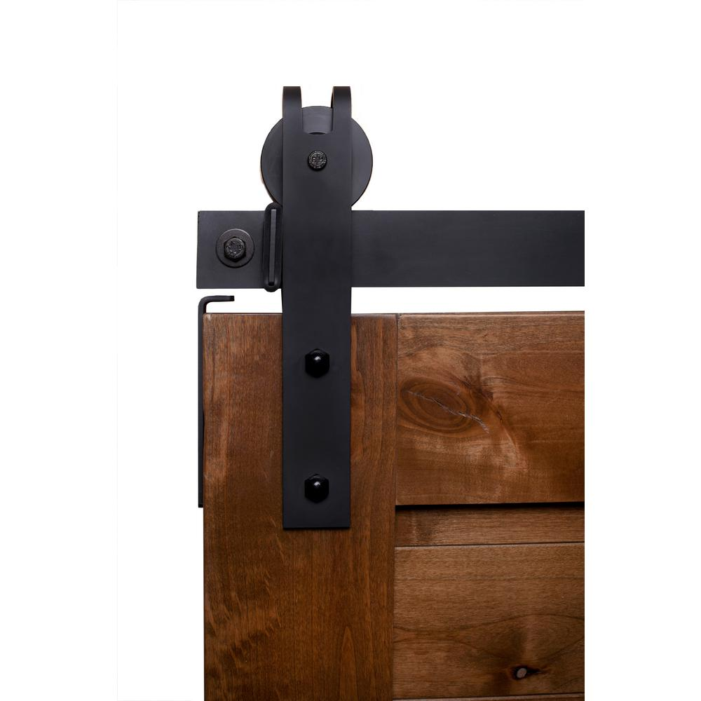 Rustica Hardware 6 Ft Garrick Barn Door Hardware In Flat Black With