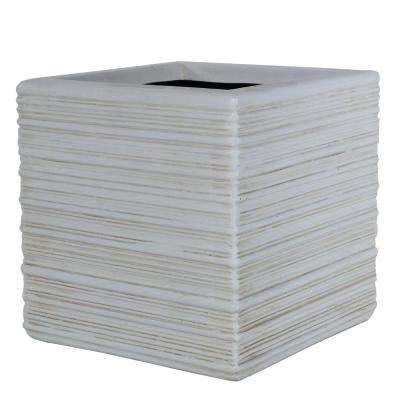 15 in. D Composite Scraped Texture Cube in Aged White Finish