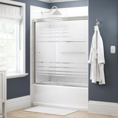 Simplicity 60 in. x 58-1/8 in. Semi-Frameless Traditional Sliding Bathtub Door in Nickel with Transition Glass