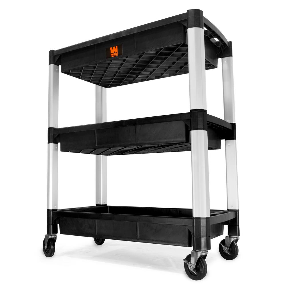 WEN 300 lbs. Capacity 32 in. x 18.5 in. Triple Decker Service 3-Tray and Utility Cart