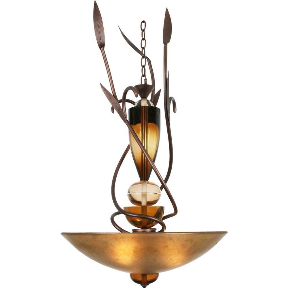 Century 3-Light Copper Chandelier