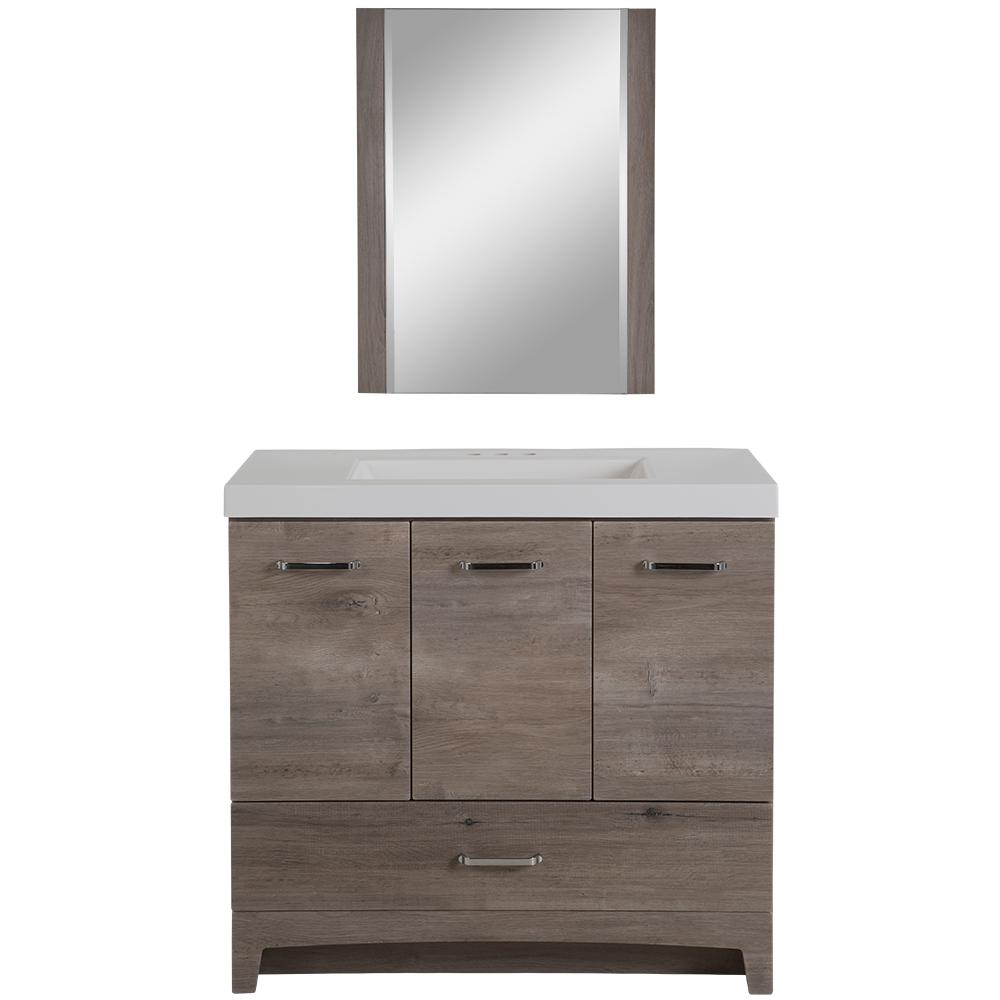 Glacier Bay Stancliff 36.50 in. W Vanity in White Washed Oak with ...