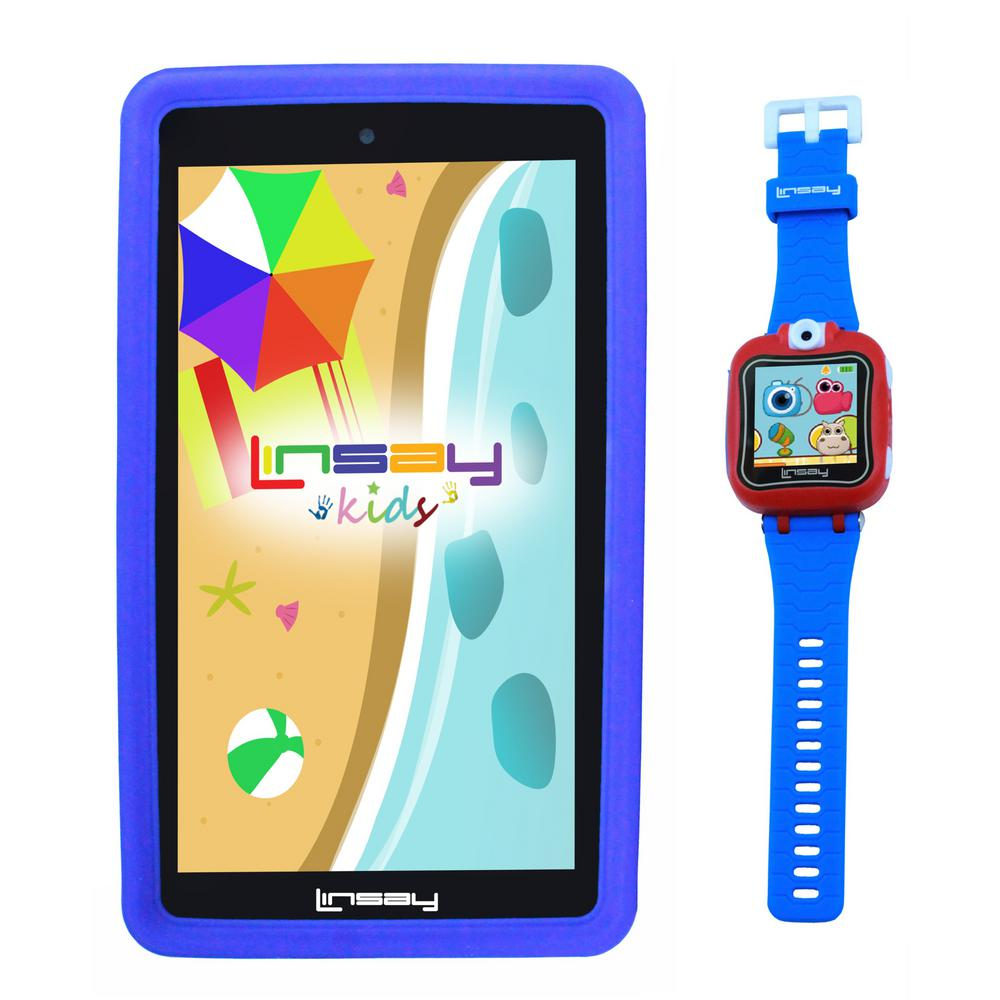 LINSAY 7 in. Kids Funny Tablet Blue Android 9.0 with 1.5 Kids Smart Watch Cam Selfie Blue was $199.99 now $79.99 (60.0% off)