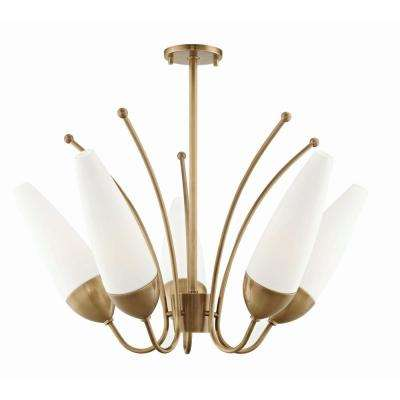 Amee 5-Light Aged Brass Chandelier with Opal Matte Glass Shade